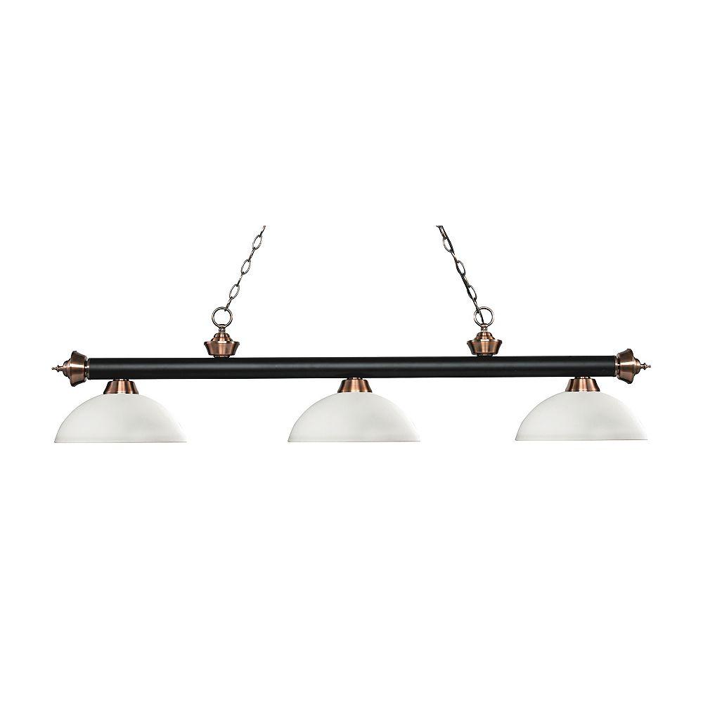 Filament Design 3-Light Matte Black and Antique Copper Island/Billiard with Matte Opal Glass - 56.5 inch