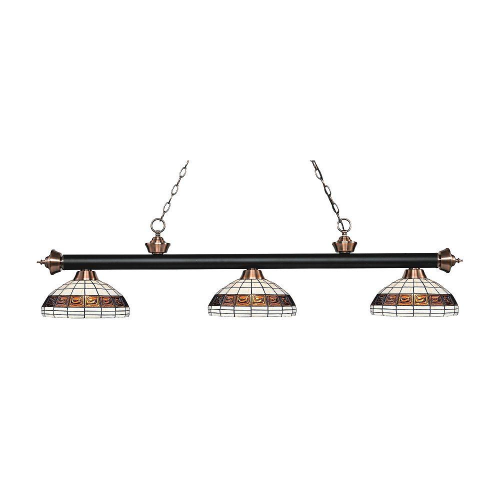 Filament Design 3-Light Matte Black and Antique Copper Dimmable Billiard with Multi Colored Tiffany Glass