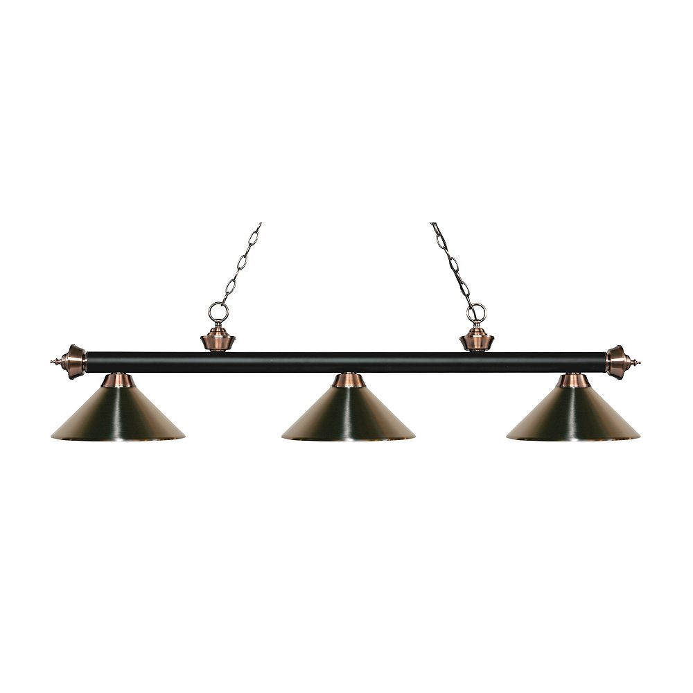 Filament Design 3-Light Matte Black and Antique Copper Island/Billiard with Brushed Nickel Steel Shade - 57.25 inch