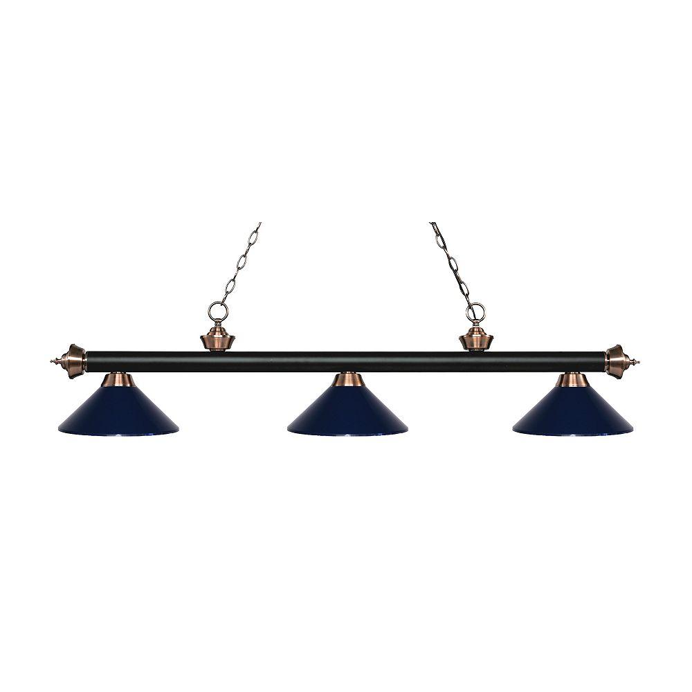 Filament Design Billard / îlot en cuivre mat noir et antique à 3 ampoules avec abat-jour en acier bleu marine - 57,25 pouces