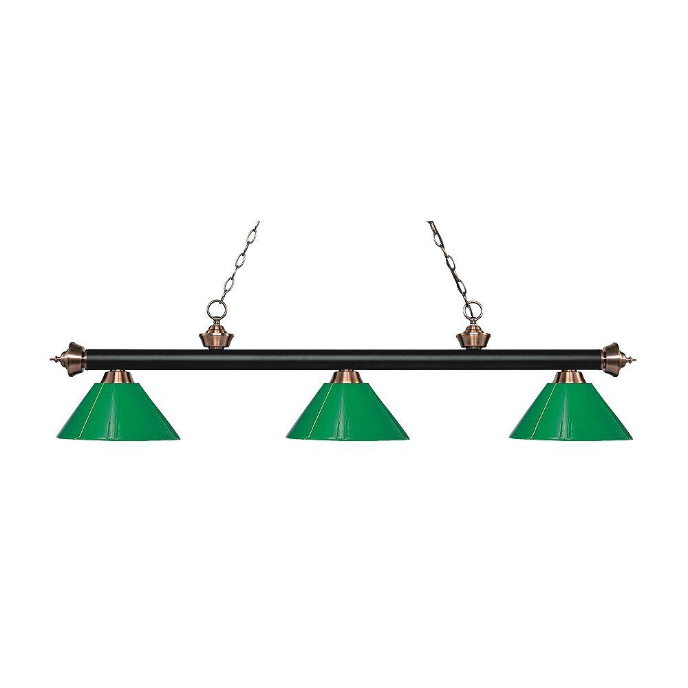 Filament Design Billard / îlot en cuivre mat noir et antique avec 3 ampoules et plastique vert