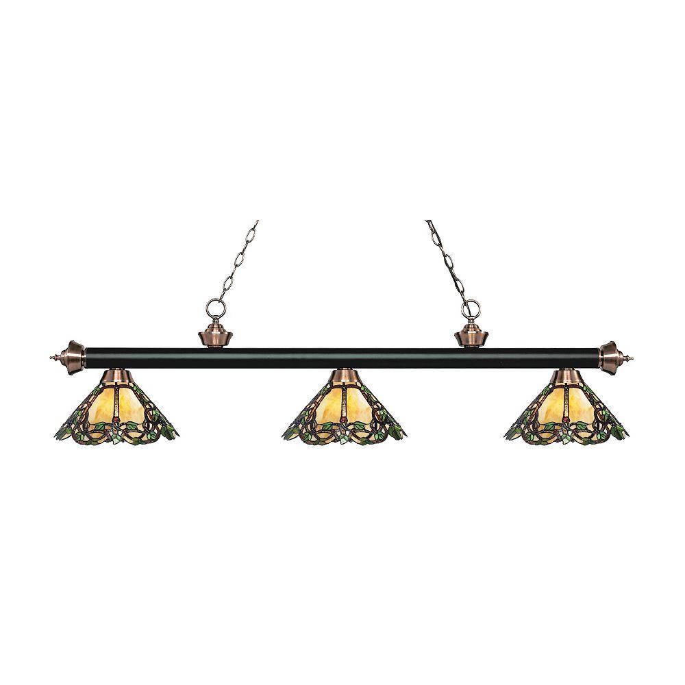 Filament Design 3-Light Matte Black and Antique Copper Billiard with Tiffany Glass - 57 inch