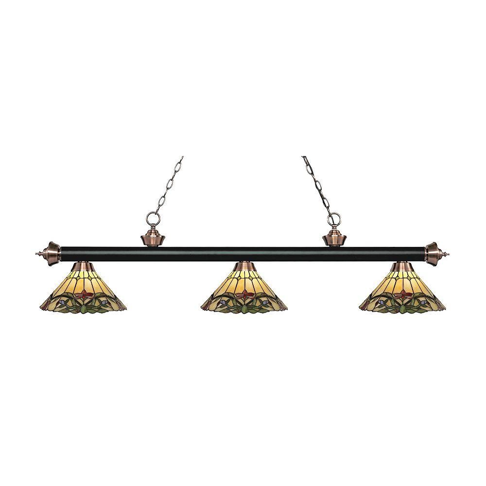 Filament Design 3-Light Matte Black and Antique Copper Billiard with Tiffany Glass - 56.75 inch