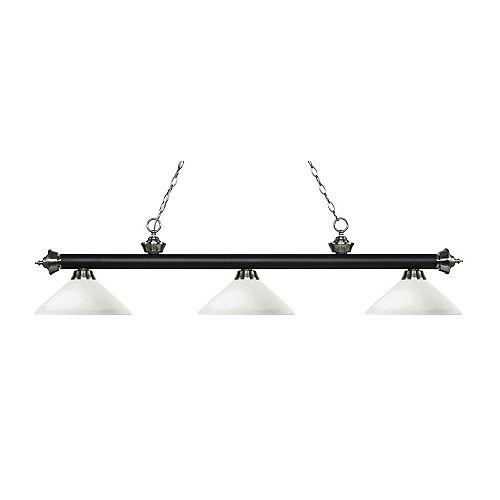 Îlot de billard à 3 ampoules, noir mat et nickel brossé, avec verre opale mat - 56,75 pouces