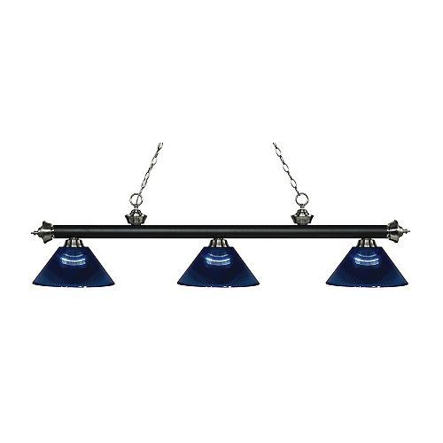 3-Light Matte Black and Brushed Nickel Island/Billiard with Dark Blue Acrylic Shade - 57.25 inch