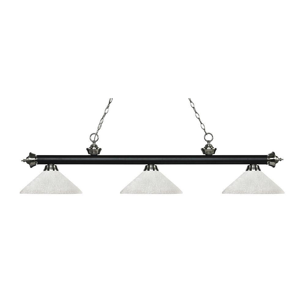 Filament Design Îlot de billard à 3 lumières, noir mat et nickel brossé, avec verre en lin blanc - 56,75 pouces
