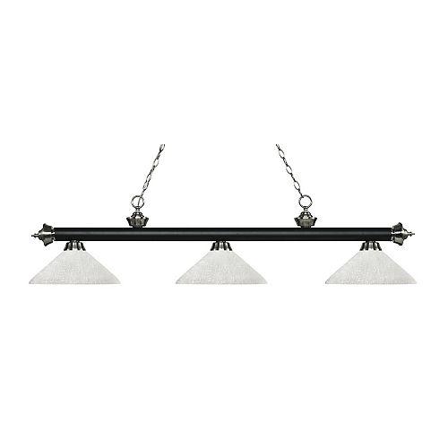 Îlot de billard à 3 lumières, noir mat et nickel brossé, avec verre en lin blanc - 56,75 pouces