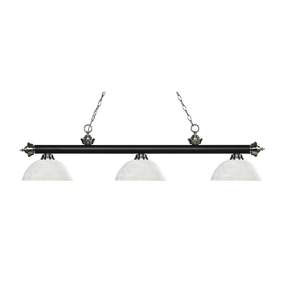 Filament Design Billard / îlot 3 lumières noir mat et nickel brossé avec verre de lin blanc - 56,5 pouces