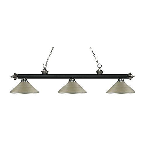 Island / Billard noir mat et à 3 ampoules nickel mat avec abat-jour en acier argenté