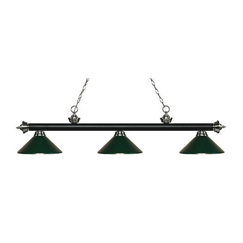 Island / Billard noir mat et à 3 ampoules nickel mat avec abat jour en acier vert foncé