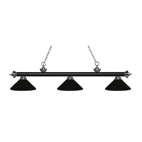 Billard / îlot 3 lumières noir mat et nickel brossé avec abat-jour en acier noir mat - 57,25 pouces