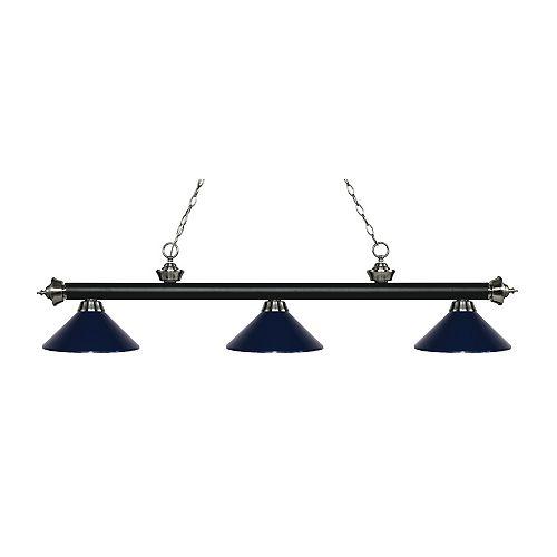 Island / Billard noir mat et à 3 ampoules nickel mat avec abat-jour en acier bleu marine - 57,25 pouces
