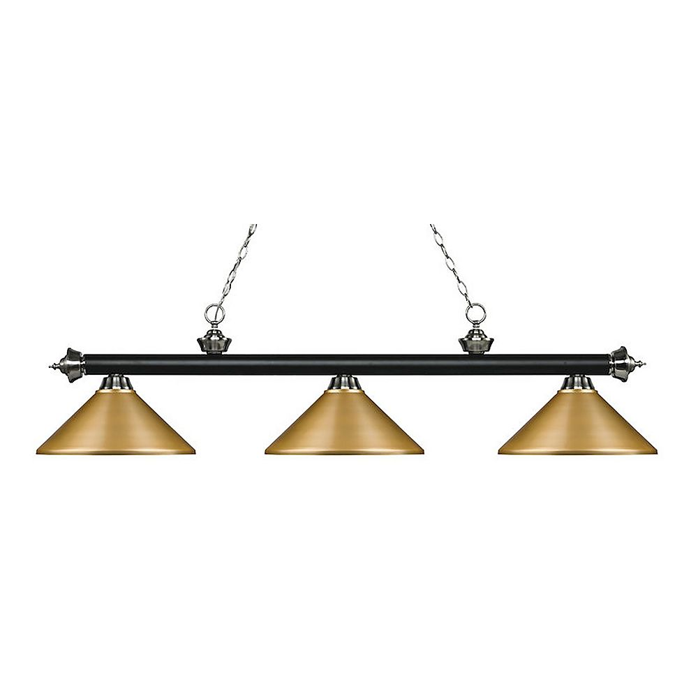 Filament Design 3-Light Matte Black and Brushed Nickel Island/Billiard with Satin Gold Steel Shade - 57.25 inch