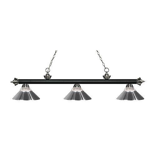 3-Light Matte Black and Brushed Nickel Billiard
