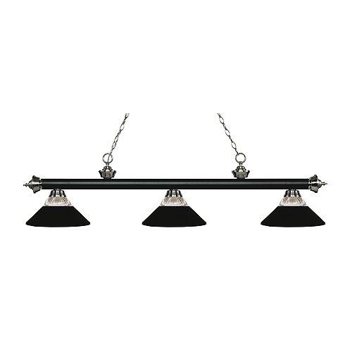 Billard noir à 3 lumières et nickel brossé avec abat-jour en métal - 57,25 pouces