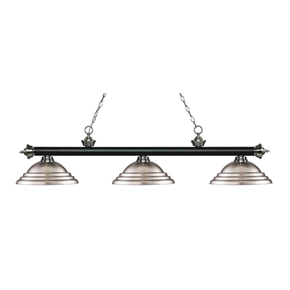 Filament Design Island / Billard noir mat et à 3 ampoules nickel mat avec abat-jour en acier nickel brossé - 58,75 pouces