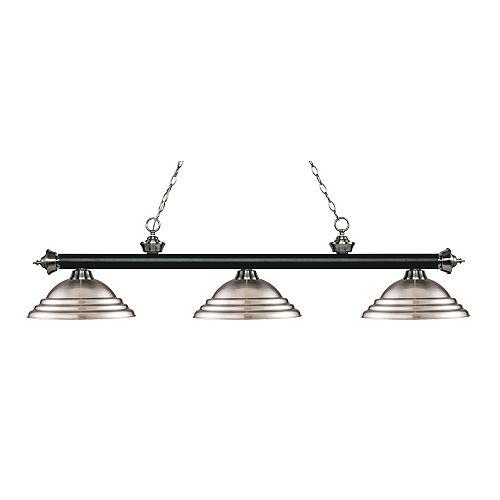 Island / Billard noir mat et à 3 ampoules nickel mat avec abat-jour en acier nickel brossé - 58,75 pouces
