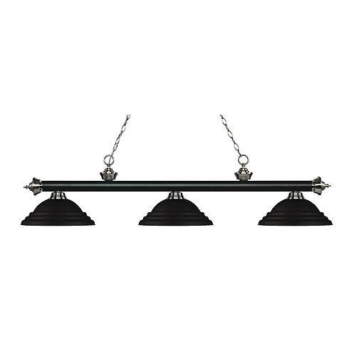 Billard / îlot 3 lumières noir mat et nickel brossé avec abat-jour en acier noir mat - 58,75 pouces