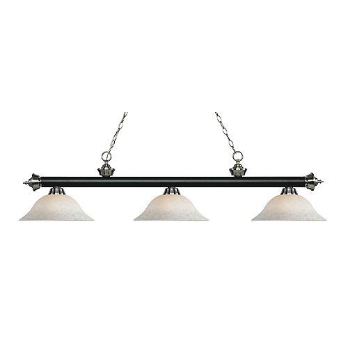 Island / Billard noir mat et à 3 lampes, nickel mat brossé - 59 pouces