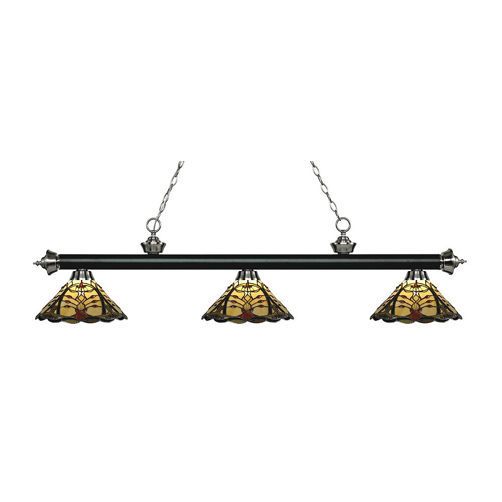 Filament Design 3-Light Matte Black and Brushed Nickel Billiard with Multi Colored Tiffany Glass - 57 inch