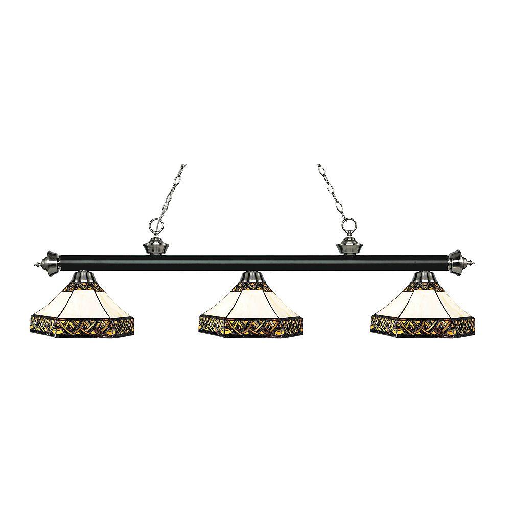 Filament Design Island / Billard noir mat et à 3 lumières, nickel brossé, verre Tiffany multicolore - 59 pouces