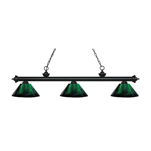 Billard noir mat et 3 lumières avec abat-jour en acrylique vert