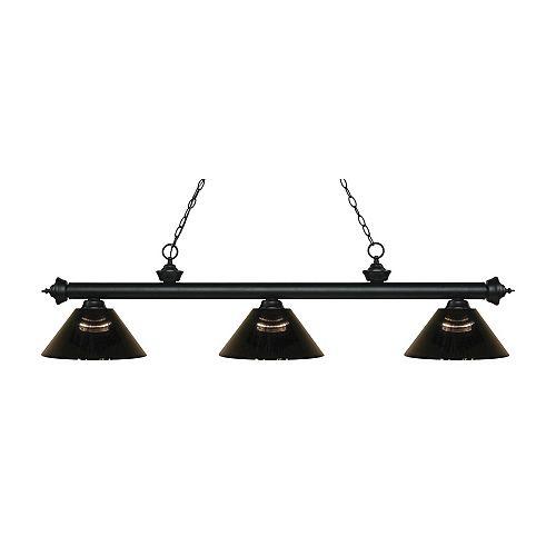 Billard noir mat et 3 lumières avec abat-jour en acrylique fumée - 57,5 pouces