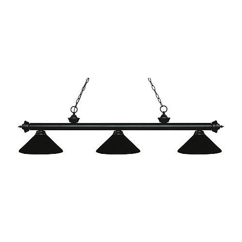 3-Light Matte Black Island/Billiard with Matte Black Steel Shade - 57.25 inch