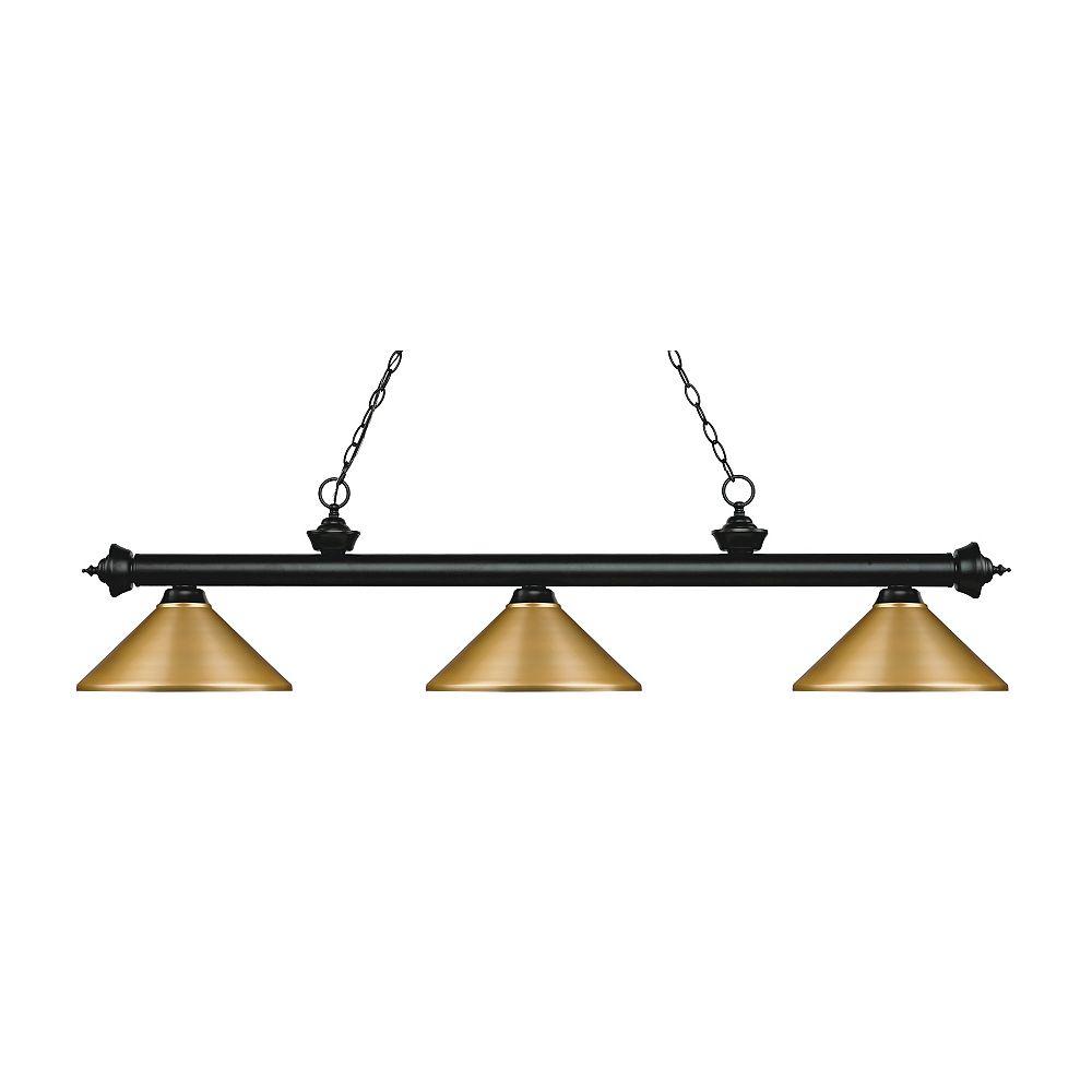 Filament Design Billard noir mat et 3 lumières avec abat-jour en acier satiné - 57,25 pouces