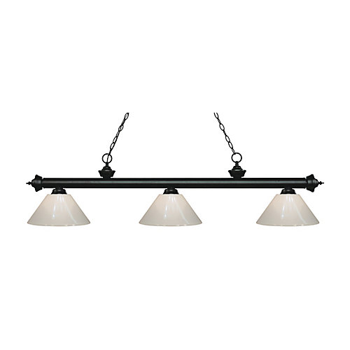 3-Light Matte Black Island/Billiard with White Plastic - 57 inch