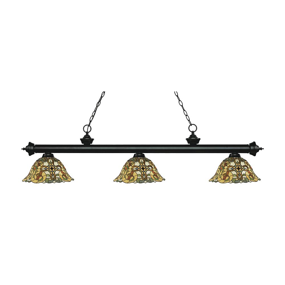 Filament Design Billard noir mat à 3 ampoules avec verre Tiffany multicolore - 57 pouces