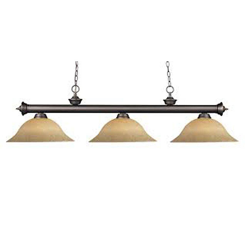 Filament Design Billard bronze / Olde Bronze à 3 ampoules avec verre à semelle doré