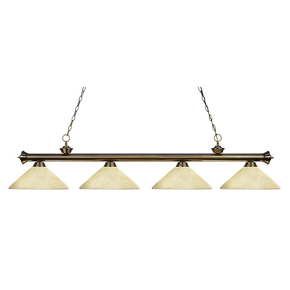 Filament Design 4-Light Antique Brass Billiard with Golden Mottle Glass