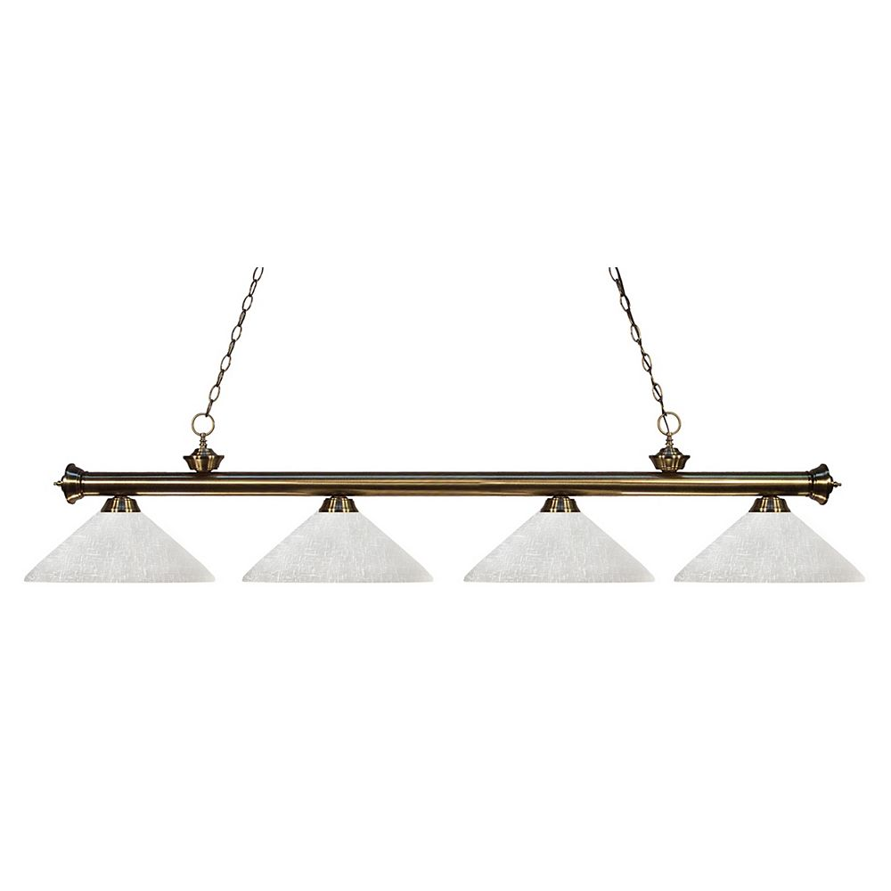 Filament Design 4-Light Antique Brass Billiard with White Linen Glass