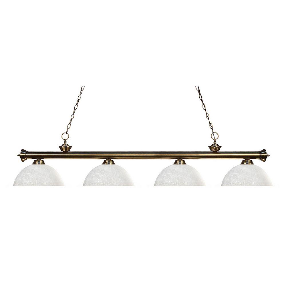 Filament Design Billard à 4 Lumières - Laiton Antique - Verre de Lin Blanc