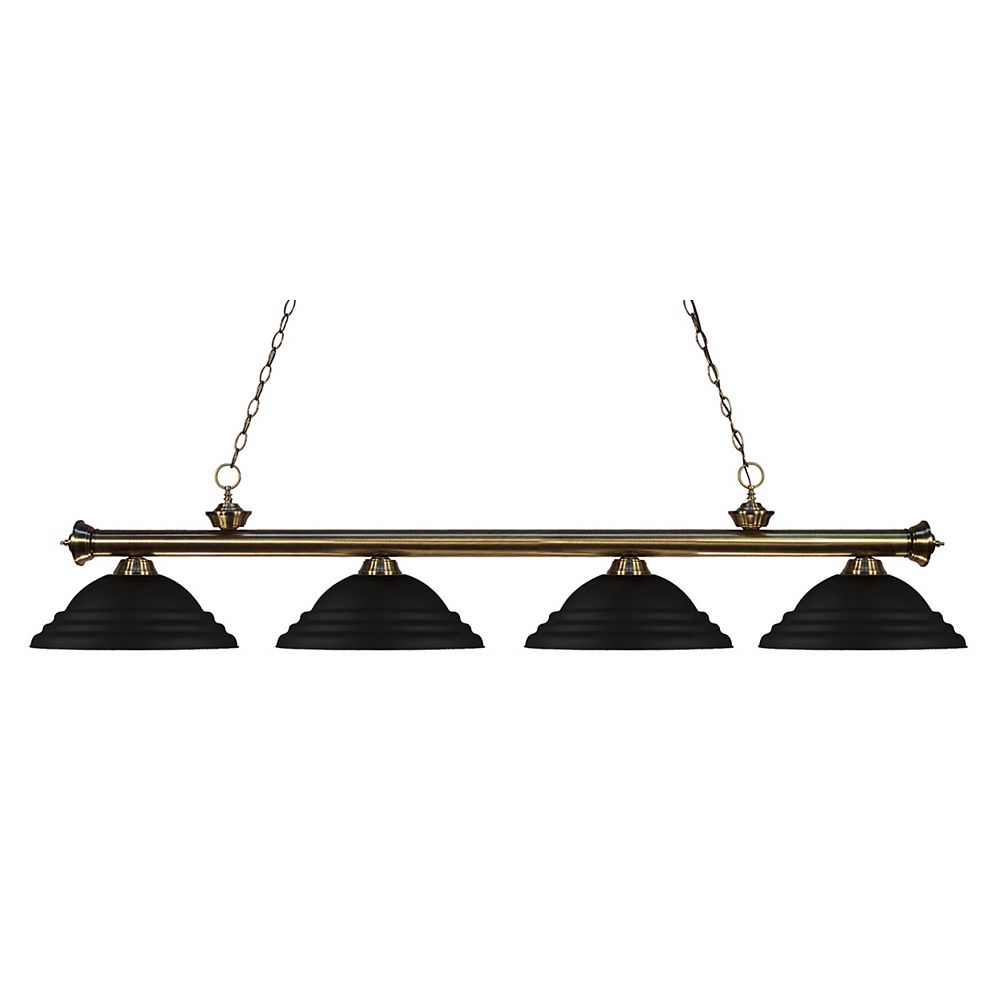 Filament Design 4-Light Antique Brass Island/Billiard with Matte Black Steel Shade - 82 inch