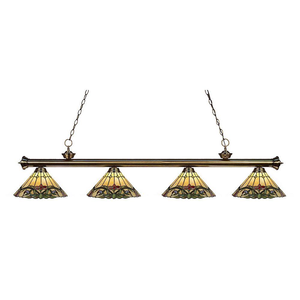 Filament Design Billard dimmable à 4 ampoules en laiton antique avec verre Tiffany multicolore - 80 po