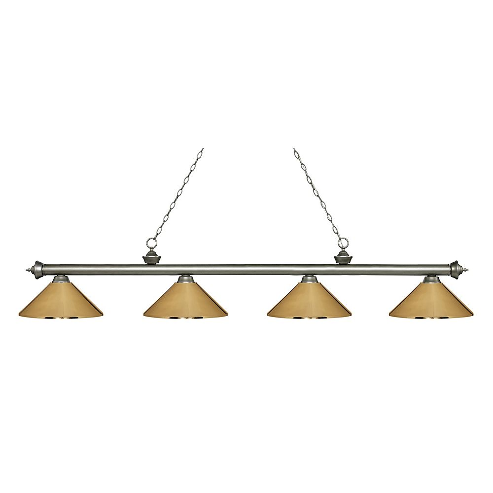 Filament Design 4-Light Antique Silver Island/Billiard with Polished Brass Steel Shade - 80.75 inch