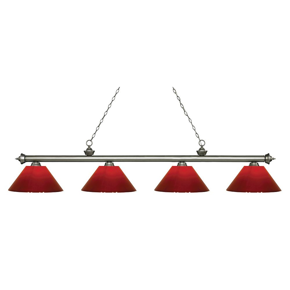 Filament Design 4-Light Antique Silver Island/Billiard with Red Plastic - 80.5 inch