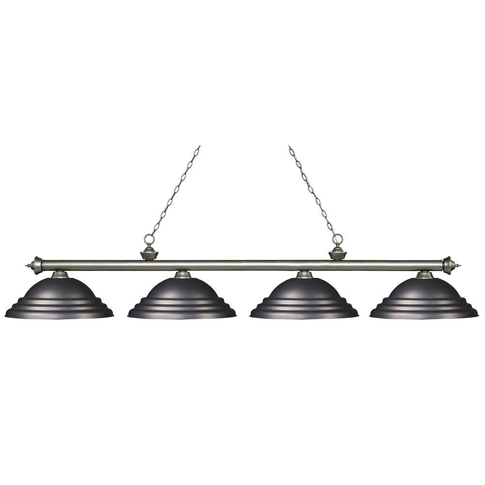 Filament Design 4-Light Antique Silver Island/Billiard with Olde Bronze Steel Shade - 82.25 inch