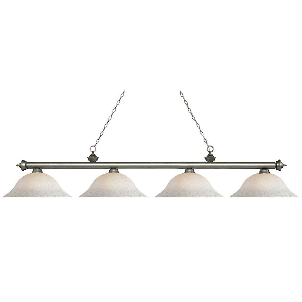 Filament Design 4-Light Antique Silver Island/Billiard with White Mottle Glass - 82.5 inch