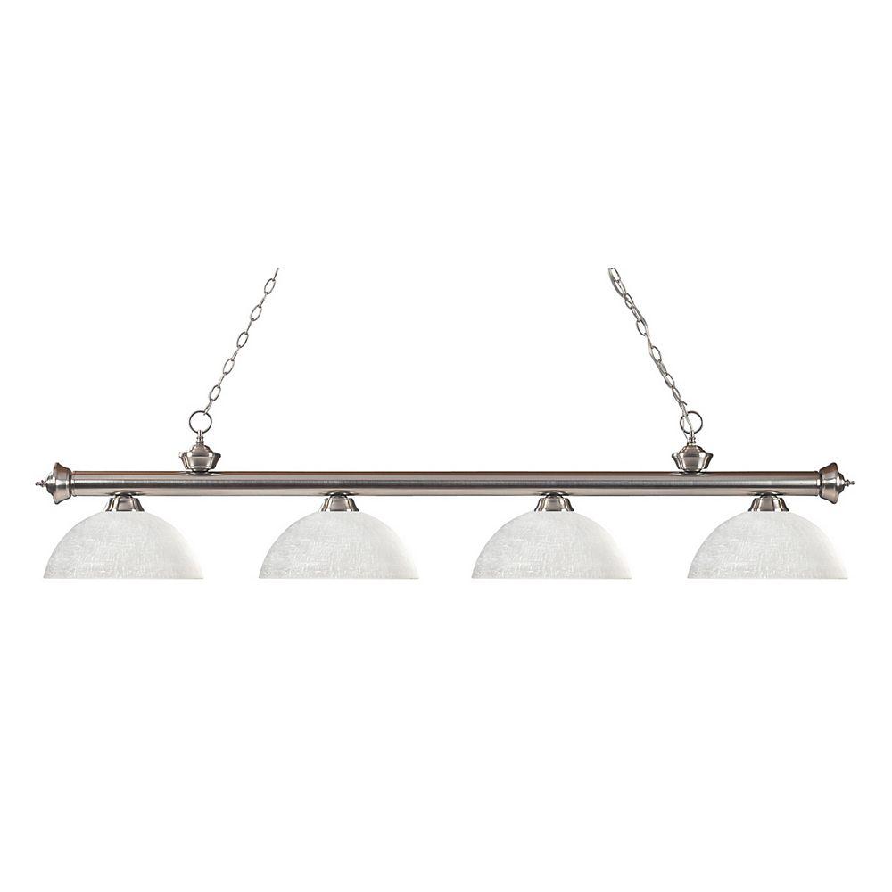 Filament Design Billard à 4 lumières, nickel brossé et abat-jour en verre de lin blanc