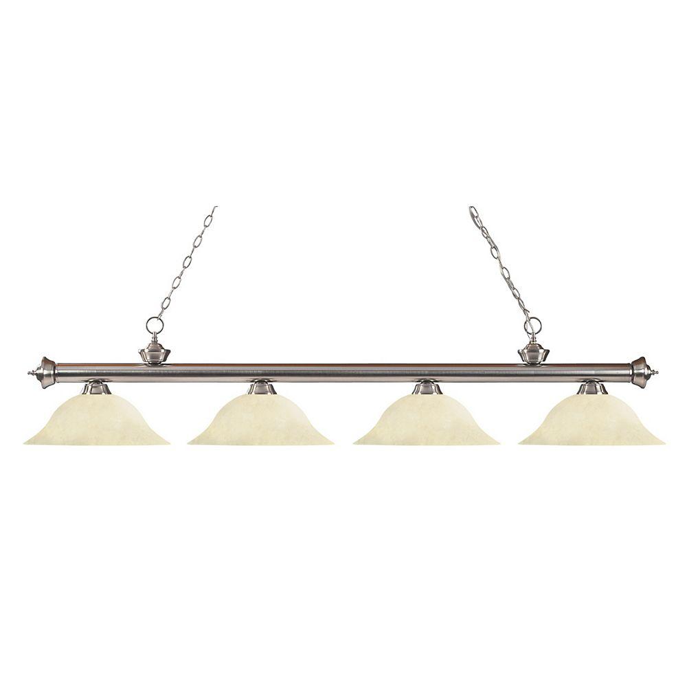 Filament Design 4-Light Brushed Nickel Island/Billiard with Golden Mottle Glass - 82 inch