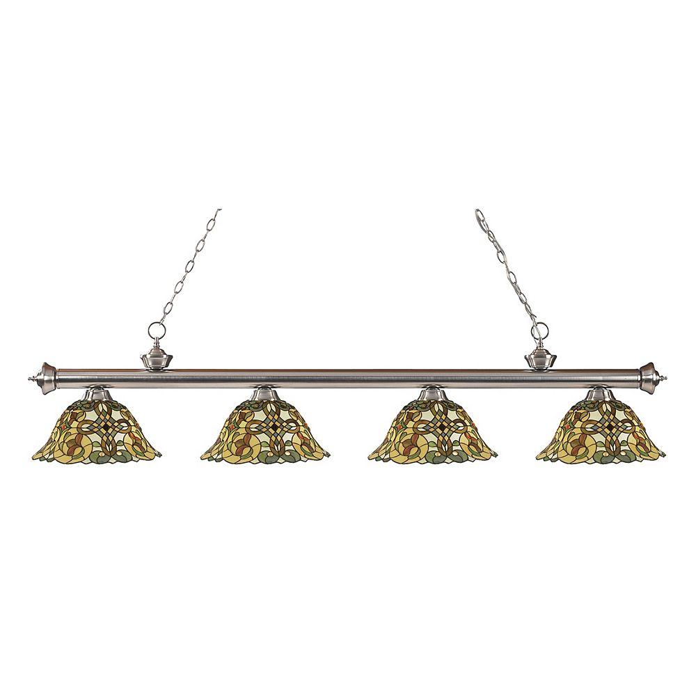Filament Design Billard à 4 lumières, nickel brossé et abat-jour en verre Tiffany