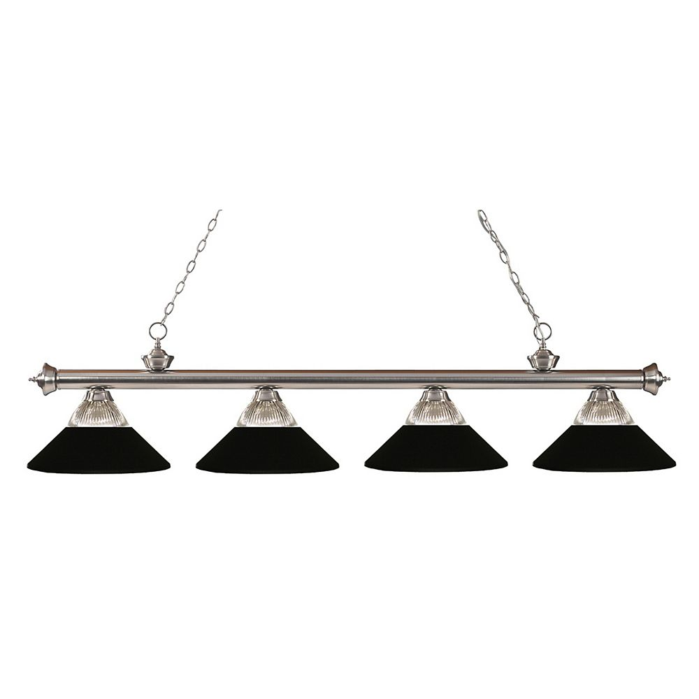 Filament Design 4-Light Brushed Nickel Island/Billiard with Clear Ribbed and Matte Black Glass and Steel Shade