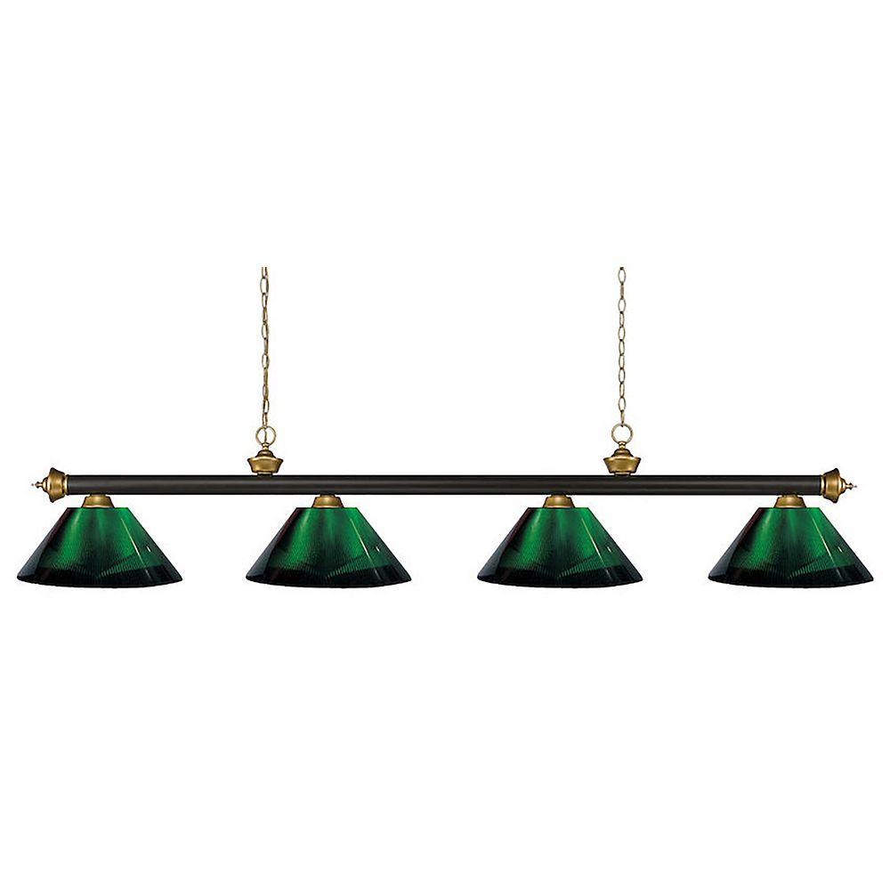 Filament Design 4-Light Bronze and Satin Gold Island/Billiard with Green Acrylic Shade - 80 inch