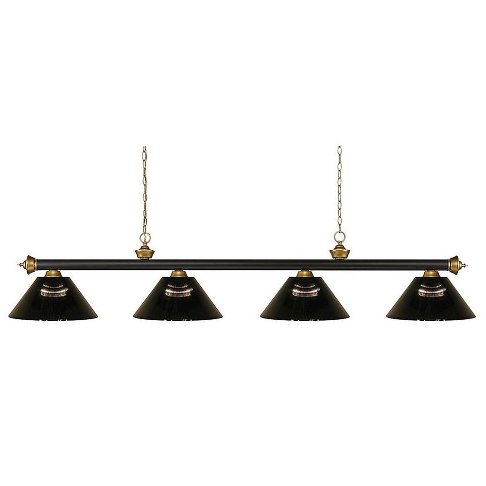 Filament Design Billard 4 lumières bronze et satin doré avec abat-jour en acrylique fumée - 80 pouces