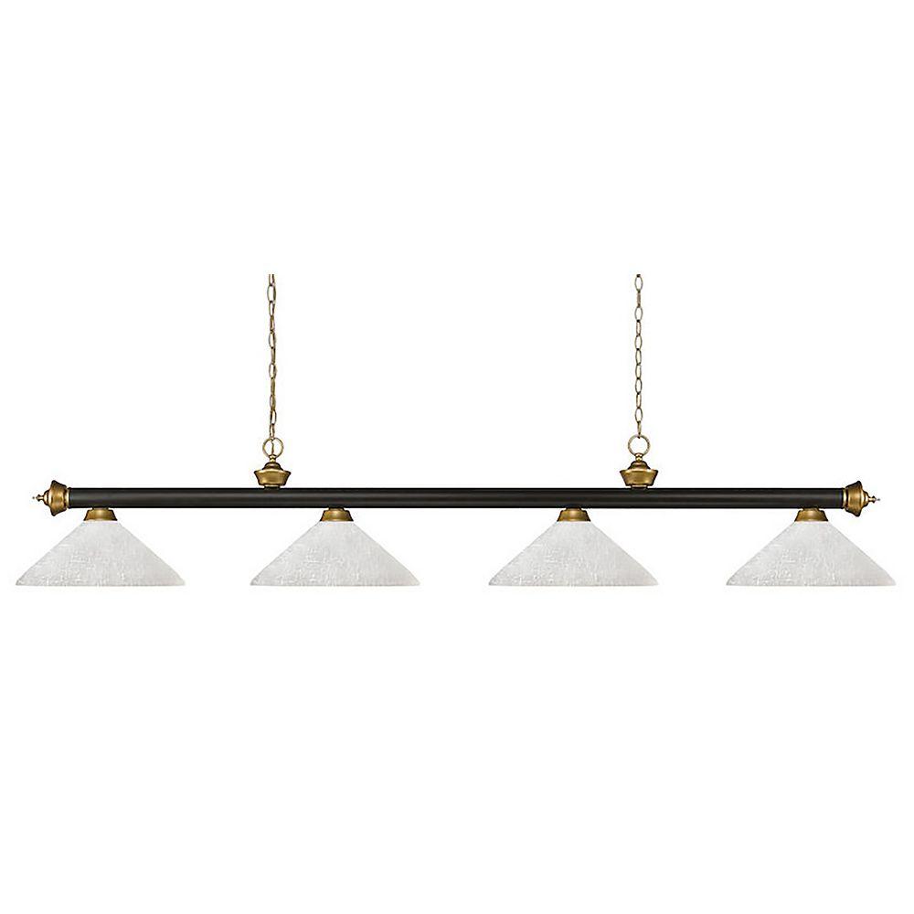 Filament Design Billard à 4 Lumières - Bronze et Satin Gold - Verre de Lin Blanc - 80 pouces