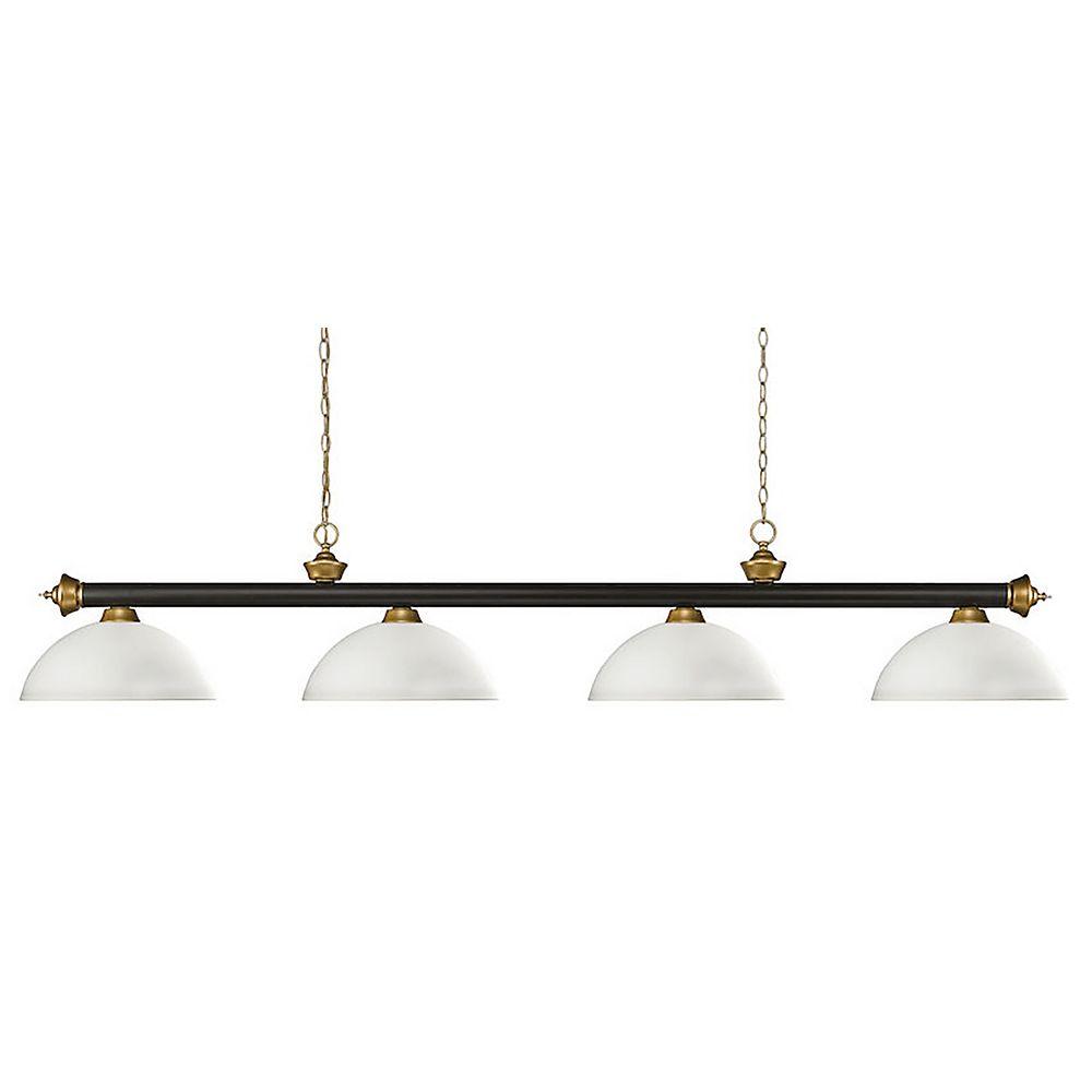 Filament Design 4-Light Bronze and Satin Gold Billiard with Matte Opal Glass