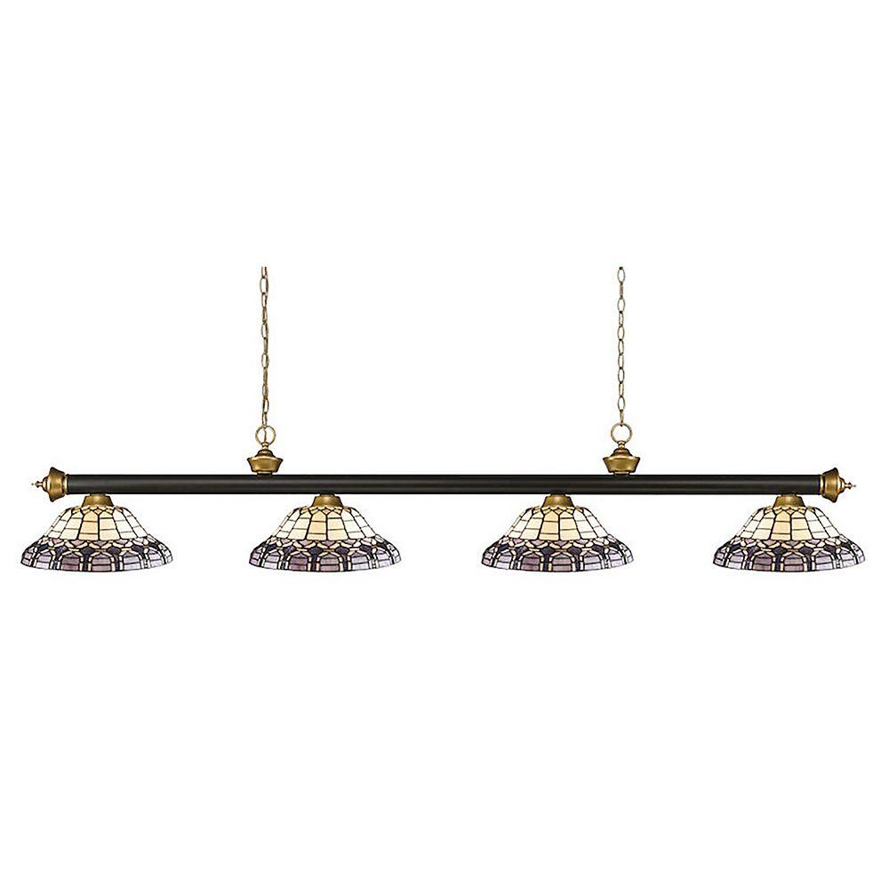 Filament Design Billard à 4 lampes, bronze et or satiné, avec verre Tiffany multicolore - 80 po